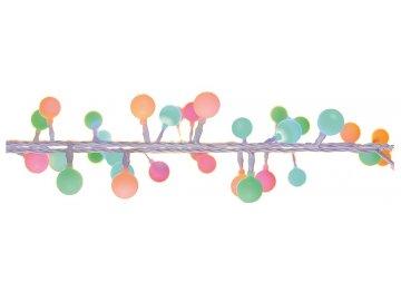 Osvětlení Vánoční řetěz kuličky barevné 4m