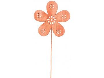 Kytka dřevěná oranžová 8cm