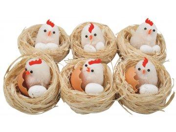 Hnízdo s kuřátkem a vejce 6cm SADA 6ks
