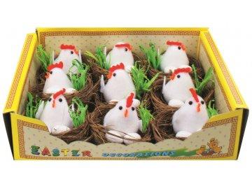 Hnízdo s kuřátkem a vejce 6cm SADA 9ks