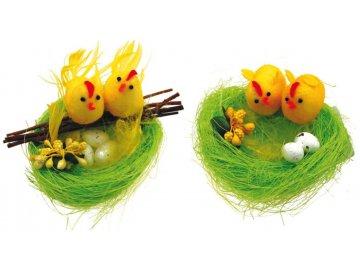 Hnízdo zelené s kuřátky 10cm SADA 2ks