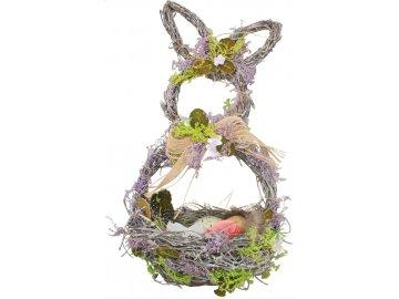 Košík proutěný s levandulí ve tvaru zajíce 29cm