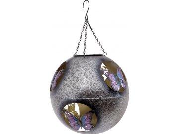Koule s LED světlem, dekor s motýlky, kovová zahradní dekorace na zavěšení (baterie na solární dobíjení)