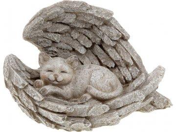 Andělská křídla s kočkou,  dekorace z polyresinu.