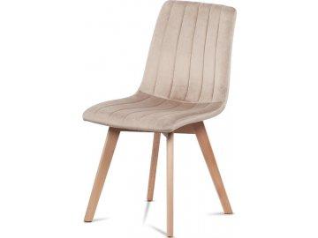 Jídelní židle, krémová sametová látka, masivní bukové nohy v přírodním odstínu