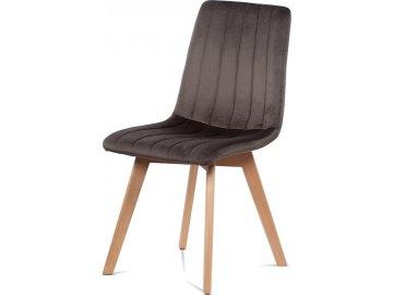 Jídelní židle, šedá sametová látka, masivní bukové nohy v přírodním odstínu