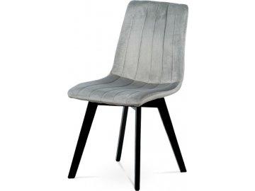 Jídelní židle, stříbrná sametová látka, masivní bukové nohy, černý matný lak