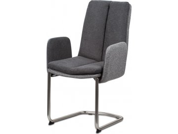 Jídelní židle, látka světle / tmavě šedá, kovová pohupová podnož, broušený nikl