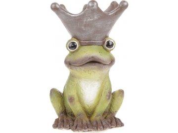 Žába s korunkou na hlavě (obal na květiny), zahradní magneziová keramika.
