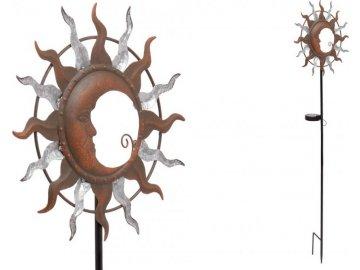 Slunce a měsíc s LED světlem, kovová zahradní dekorace, zápich (baterie na solární dobíjení)