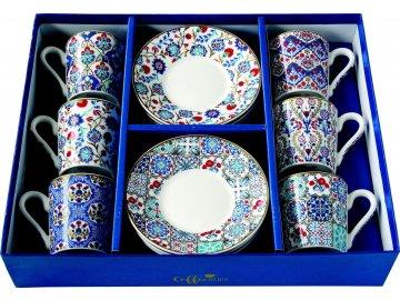 Porcelánové šálky a podšálky na kávu Iznik