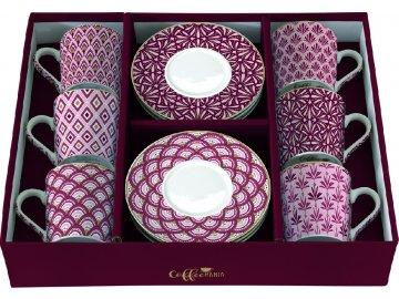 Porcelánové šálky a podšálky na kávu Damask