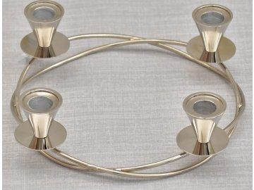 Svícen na 4 svíčky kov, stříbrný 27 cm