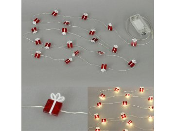 Řetěz s LED světýlky na baterie barva teplá bílá
