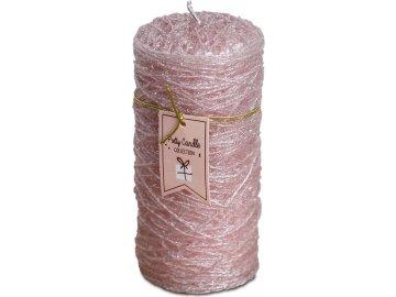Svíčka vánoční , 368g vosku, barva růžová