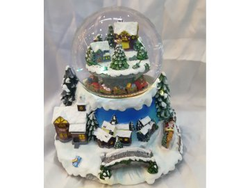 Dekorace polyresinová vánoční, na baterie,svítí,  točí se a hraje