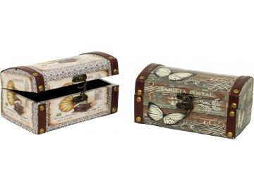 Truhla dřevěná - malá, motýl/gramofon