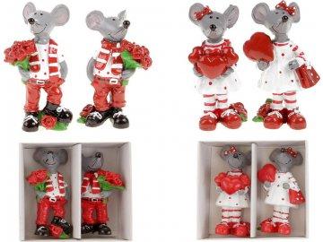 Myšák a myška, 2 kusy v krabičce. Dekorace z polyresinu, cena 1 krabičku