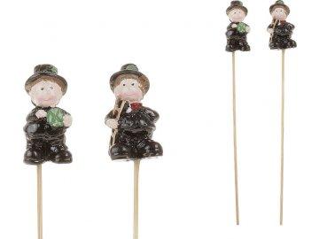 Zápich, dekorace z polyresinu, mix 2 druhů , kominíček a prasátko , cena za 1 box ( 24 kusů)