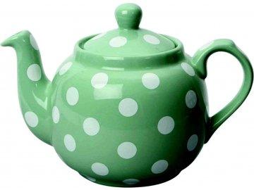 Světle zelená čajová konev s bílými puntíky London Pottery