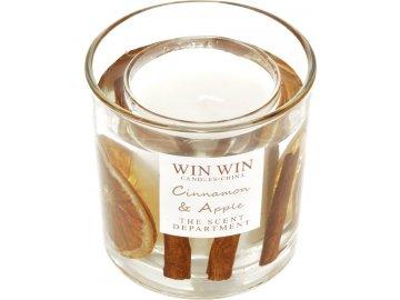 Svíčka ve skle, skořice jako dekorace, 150g vosku.