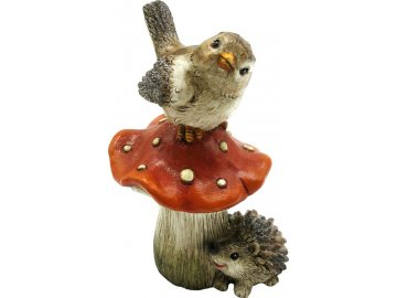 Houba s ptáčkem a ježkem, polyresinová dekorace