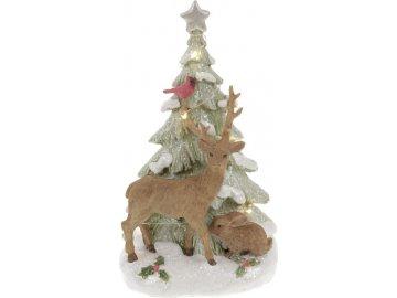 Sob a vánoční stromek, dekorace z polyresinu s LED světlem