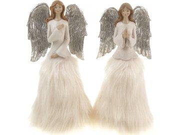 Anděl, vánoční dekorace, mix 2 druhů, cena za 1 kus, barva krémová
