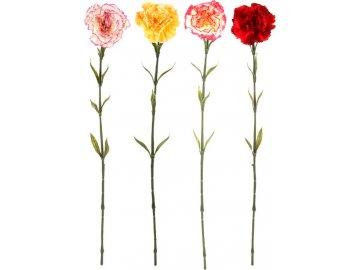 Karafiát, umělá květina, mix 4 barev