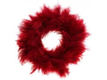 Věneček, dekorace z peří, barva červená