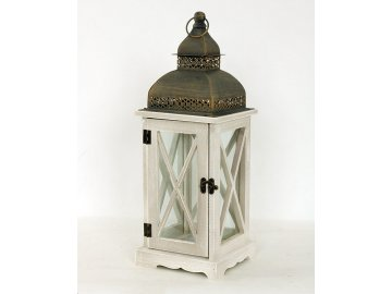 Lucerna dřevěná, barva antik bílo-šedá