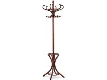 Věšák dřevěný, hnědý lak, pololesk, v. 185 cm