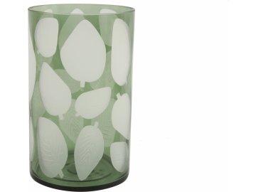 Skleněný svícen Zora, zelený s listem 25x15 cm