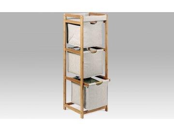 Regál | 3 šuplíky | lakovaný bambus a látka | 34x33x110cm