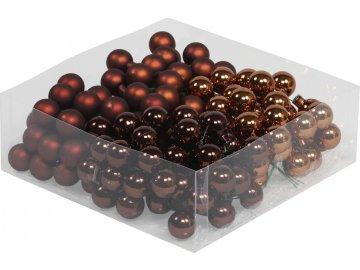 Skleněné baňky tmavě hnědé 2 cm, sada 144 ks