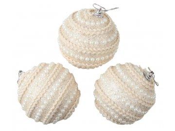 Baňky krémové s perličkami 8 cm, 3 ks