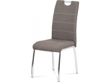 Jídelní židle, potah coffee látka, bílé prošití, kovová čtyřnohá chromovaná podnož
