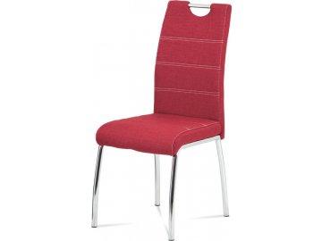 Jídelní židle, potah vínově červená látka, bílé prošití, kovová čtyřnohá chromovaná podnož