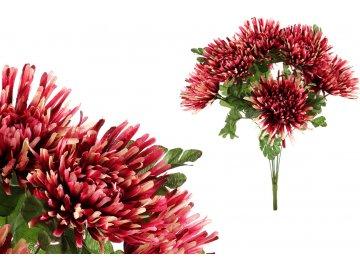 Chryzantéma puget, barva vínovo-smetanová, umělá květina.
