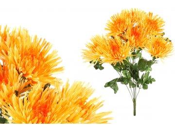 Chryzantéma puget, barva žlutá, umělá květina.