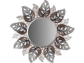 Kovová nástěnná dekorace se zrcadlem a dekorem listů