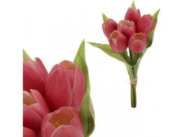 Tulipán, barva růžová. Materiál pěna. Cena za 1 kus, ve svazku je 6 kusů.
