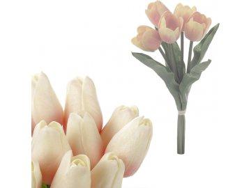 Mini tulipán, barva bílo-růžová. Materiál pěna. Cena za 1 kus, ve svazku je 5 kusů.