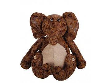 Zarážka na dveře kožená slon 18,2x15x18,2cm