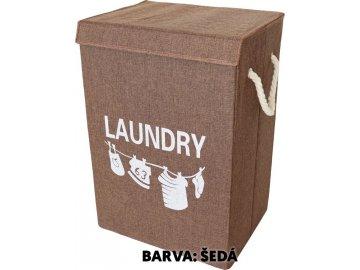 Koš na prádlo plátěný, barva šedá