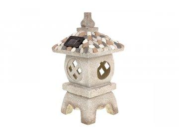 Pagoda s LED světlem (baterie na solární dobíjení), zahradní MgO keramika.