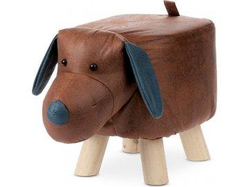 Taburet - pes, potah hnědá látka v dekoru vintage kůže, masivní nohy z kaučukovníku v přírodním  odstínu