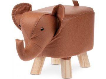 Taburet - slon, potah skořicově hnědá látka v dekoru kůže, masivní nohy z kaučukovníku v přírodním odstínu