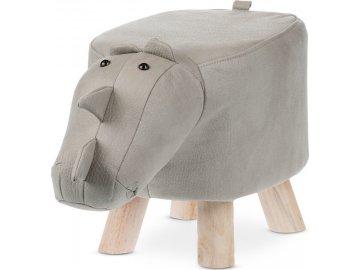 Taburet - nosorožec, potah světle šedá látka v dekoru kůže, masivní nohy z kaučukovníku v přírodním odstínu