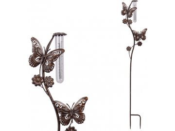 Srážkoměr s motýly, kovová dekorace na zapíchnutí  do zahrady
